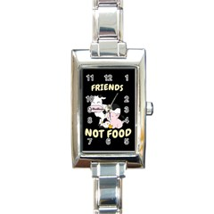 Friends Not Food   Cute Cow, Pig And Chicken Rectangle Italian Charm Watch by Valentinaart