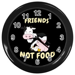 Friends Not Food   Cute Cow, Pig And Chicken Wall Clocks (black) by Valentinaart