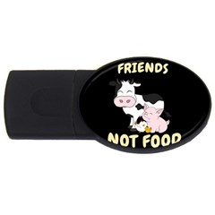 Friends Not Food   Cute Cow, Pig And Chicken Usb Flash Drive Oval (2 Gb) by Valentinaart