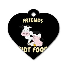 Friends Not Food   Cute Cow, Pig And Chicken Dog Tag Heart (one Side) by Valentinaart