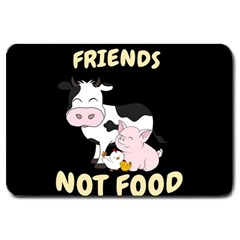 Friends Not Food   Cute Cow, Pig And Chicken Large Doormat  by Valentinaart