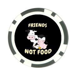 Friends Not Food   Cute Cow, Pig And Chicken Poker Chip Card Guard by Valentinaart