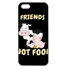 Friends Not Food   Cute Cow, Pig And Chicken Apple Iphone 5 Seamless Case (black) by Valentinaart