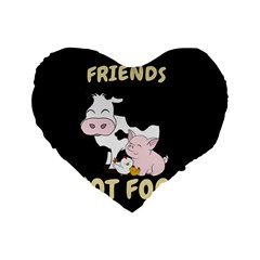 Friends Not Food   Cute Cow, Pig And Chicken Standard 16  Premium Heart Shape Cushions by Valentinaart