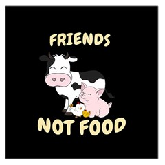 Friends Not Food   Cute Cow, Pig And Chicken Large Satin Scarf (square) by Valentinaart