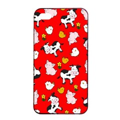 The Farm Pattern Apple Iphone 4/4s Seamless Case (black) by Valentinaart
