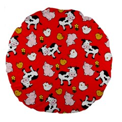 The Farm Pattern Large 18  Premium Round Cushions by Valentinaart