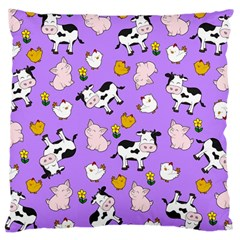 The Farm Pattern Large Cushion Case (one Side) by Valentinaart