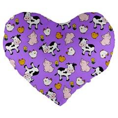The Farm Pattern Large 19  Premium Heart Shape Cushions by Valentinaart