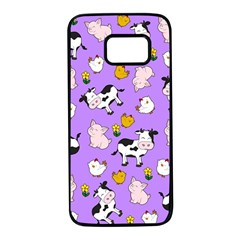 The Farm Pattern Samsung Galaxy S7 Black Seamless Case by Valentinaart