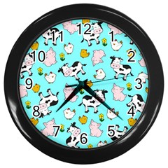 The Farm Pattern Wall Clocks (black) by Valentinaart