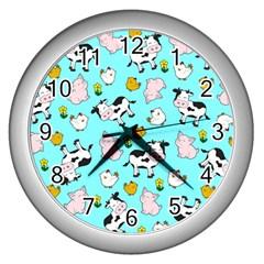 The Farm Pattern Wall Clocks (silver)  by Valentinaart