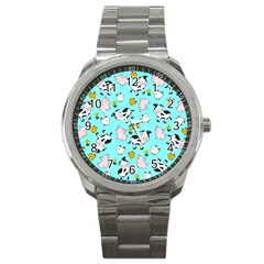 The Farm Pattern Sport Metal Watch by Valentinaart