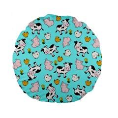 The Farm Pattern Standard 15  Premium Flano Round Cushions by Valentinaart
