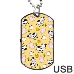 The Farm Pattern Dog Tag Usb Flash (one Side) by Valentinaart