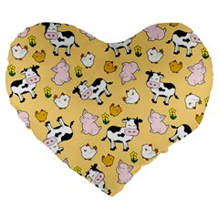 The Farm Pattern Large 19  Premium Flano Heart Shape Cushions by Valentinaart