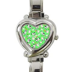 The Farm Pattern Heart Italian Charm Watch by Valentinaart