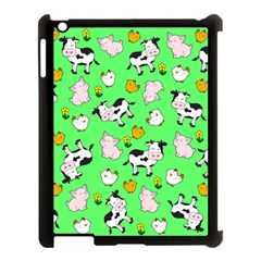 The Farm Pattern Apple Ipad 3/4 Case (black) by Valentinaart