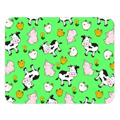 The Farm Pattern Double Sided Flano Blanket (large)  by Valentinaart