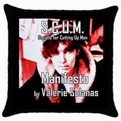 Valerie Solanas Throw Pillow Case (black) by Valentinaart