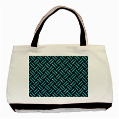 Woven2 Black Marble & Turquoise Glitter (r) Basic Tote Bag by trendistuff