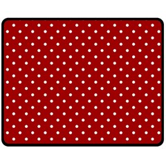 Red Polka Dots Double Sided Fleece Blanket (medium)  by jumpercat