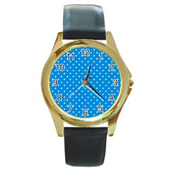 Blue Polka Dots Round Gold Metal Watch by jumpercat