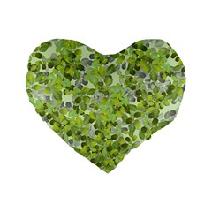 Leaves Fresh Standard 16  Premium Flano Heart Shape Cushions by jumpercat