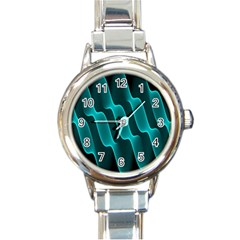 Background Light Glow Blue Green Round Italian Charm Watch