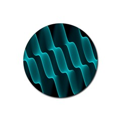 Background Light Glow Blue Green Rubber Round Coaster (4 Pack)