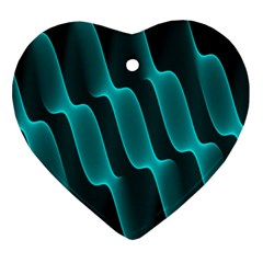 Background Light Glow Blue Green Heart Ornament (two Sides)
