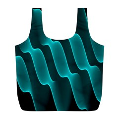 Background Light Glow Blue Green Full Print Recycle Bags (l)
