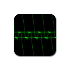 Background Signal Light Glow Green Rubber Coaster (square)