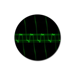 Background Signal Light Glow Green Rubber Coaster (round)