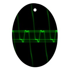 Background Signal Light Glow Green Oval Ornament (two Sides)