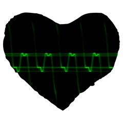 Background Signal Light Glow Green Large 19  Premium Heart Shape Cushions