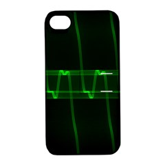 Background Signal Light Glow Green Apple Iphone 4/4s Hardshell Case With Stand