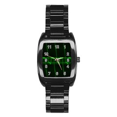 Background Signal Light Glow Green Stainless Steel Barrel Watch