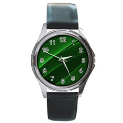 Background Light Glow Green Round Metal Watch