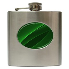 Background Light Glow Green Hip Flask (6 Oz)