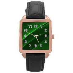 Background Light Glow Green Rose Gold Leather Watch
