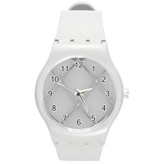 Background Light Glow White Grey Round Plastic Sport Watch (m)