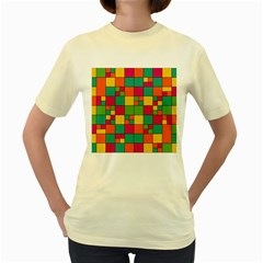Abstract Background Abstract Women s Yellow T Shirt