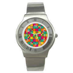 Abstract Background Abstract Stainless Steel Watch
