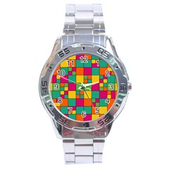 Abstract Background Abstract Stainless Steel Analogue Watch