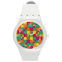 Abstract Background Abstract Round Plastic Sport Watch (m)