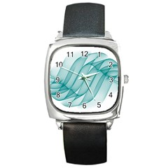 Background Light Glow Blue Square Metal Watch