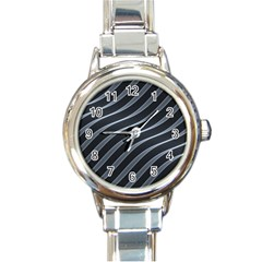 Metal Steel Stripped Creative Round Italian Charm Watch