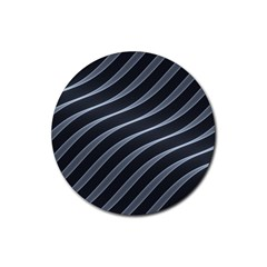 Metal Steel Stripped Creative Rubber Round Coaster (4 Pack)
