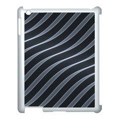 Metal Steel Stripped Creative Apple Ipad 3/4 Case (white)